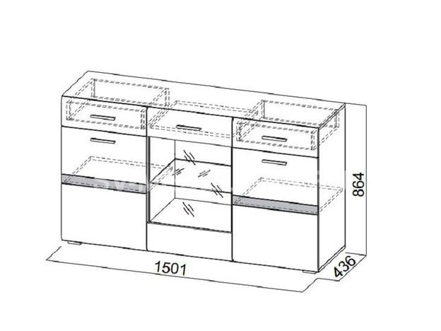 Комод-витрина Соло СВ ШхВхГ 1501х864х436 мм
