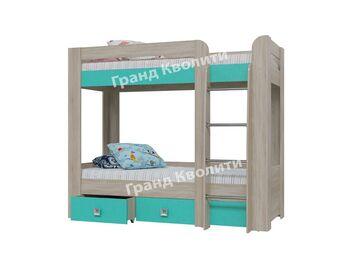 Кровать 2-ярусная с ящиками Сити-Аква 4-2002 ШхВхГ 2070х1755х1020 мм