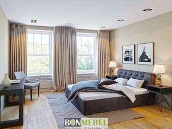 Кровать Калипсо 1600 с ПМ кожзам коричневый