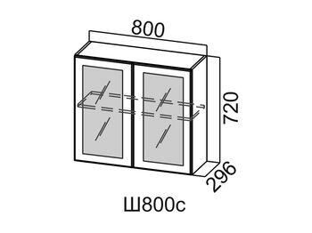 Шкаф навесной со стеклом Ш800с Модус СВ 800х720х296