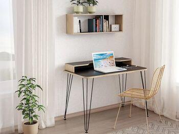 Стол компьютерный 12.66 Базис 3 Черный-Дуб сонома