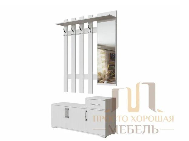 Вешалка с зеркалом 1,2 №3 СВ Ясень Анкор светлый