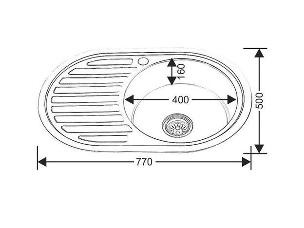 Мойка WW 7750L-P 0.6-160 овальная